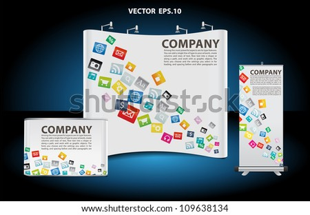 Vector blank trade show booth, and roll up banner, counter with cloud of colorful application icons identity background.