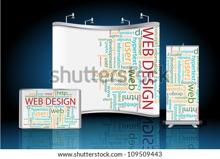 Vector blank trade show booth with roll up banner and counter, with web design wordcloud identity background ready for use.