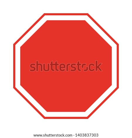 Vector Blank traffic sign red icon on white background illustration. prohibition sign, red octagon #1403837303