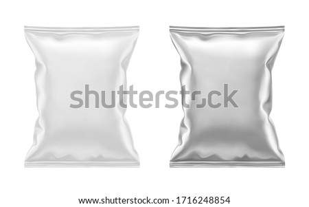 Vector blank white plastic and silver metallic foil bag for packaging design. Mockup template for food snack, chips, cookies, peanuts, candy. Realistic illustration Isolated on white background