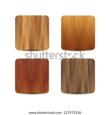 Vector blank wooden application icons