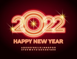 Vector blazing Greeting Card Happy New Year 2022! Bright glowing Font. Light tube Alphabet Letters and Numbers set