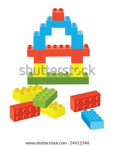 Vector blocks with blue, yellow, green and red blocks