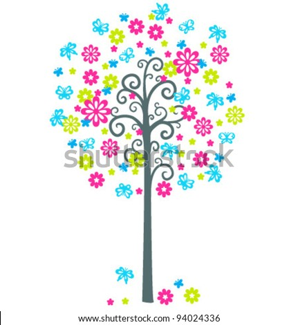 Vector blossom tree with flowers and butterflies