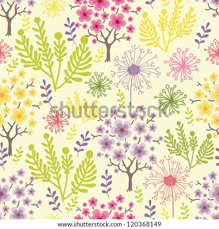 Vector blossoming trees seamless pattern background with colorful spring flowers.