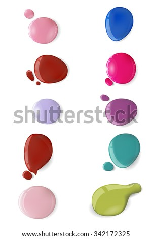 Vector  Blots of nail polish isolated on white background.