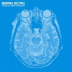 Vector blue abstract brain tomography analysis illustration. Digital brain x-ray scan. Medical data MRI visualization concept. Futuristic healthcare software HUD UI. Data driven image. Human head