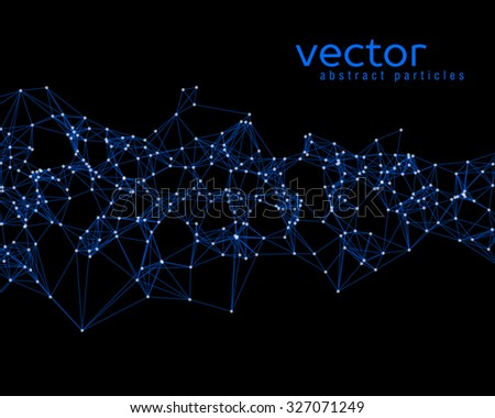 Vector blue abstract particles on black background