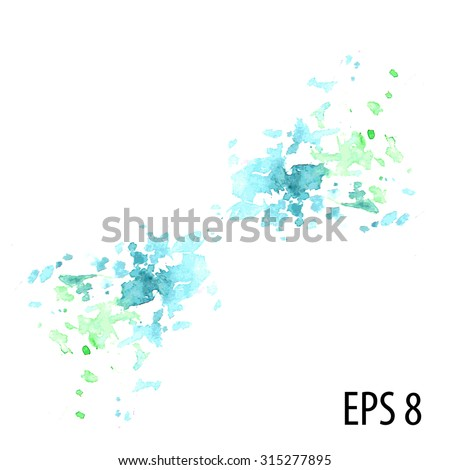 Stock Photo Vector blue and green hand made painted sprayed strokes in watercolor painting style