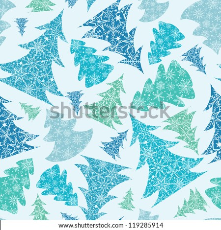 stock-vector-vector-blue-and-green-snowflakes-textured-christmas-trees-seamless-pattern-background