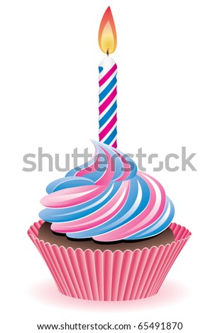 vector blue and pink cupcake with burning candle