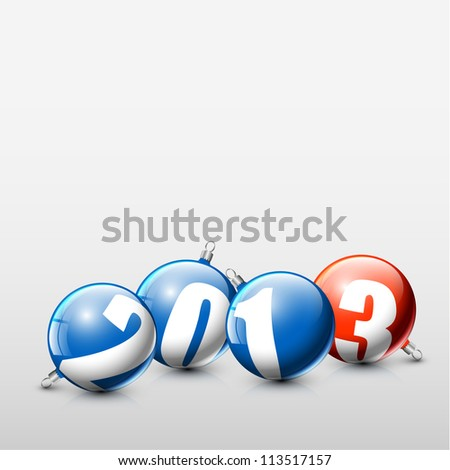 Vector blue and red Christmas realistic baubles with the numbers of new year 2013