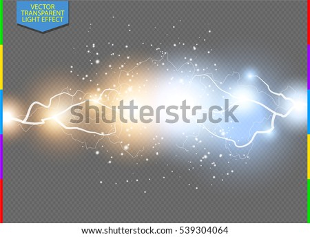 Vector blue and yellow electric lightning bolt. Energy effect illustration. Bright light flare and sparks on transparent background. Hot and cold sparkling power