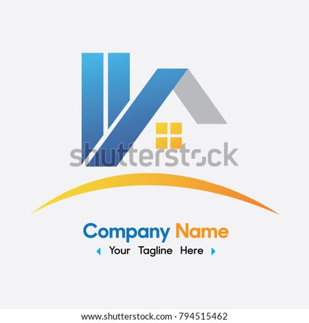 Vector Blue and yellow Home Logo design. Real estate agent or Company logo