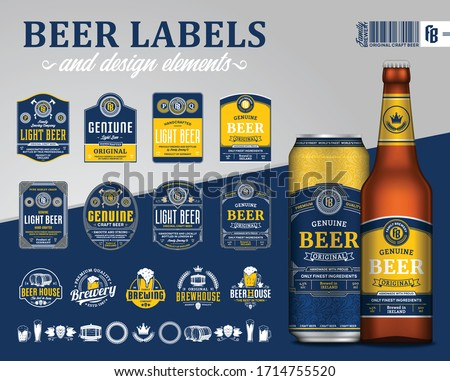 Vector blue and yellow premium quality beer labels. Realistic glass bottle and aluminum can mockup. Brewing company branding and identity design elements ストックフォト ©