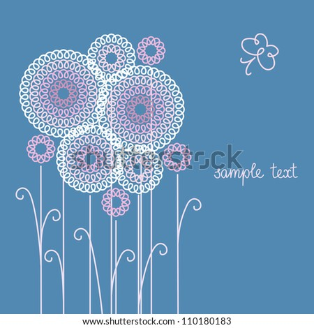 Vector blue background with flowers and butterfly of doodles. Invitation and greeting romantic stylized card with text box. Abstract summery floral illustration for print and web