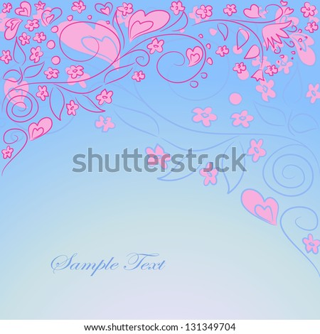 vector blue background with hand drawing ornate