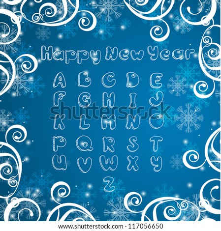 Vector blue background with snowflake and alphabet