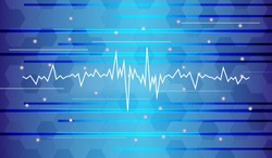 Vector Blue background with  sound waves.