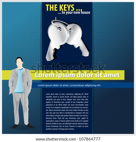 Vector blue brochure background concept with silver key on a hood and manager