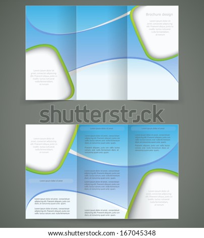Vector Blue Brochure Layout Design Business Three Fold Flyer – Three Fold Flyer Template