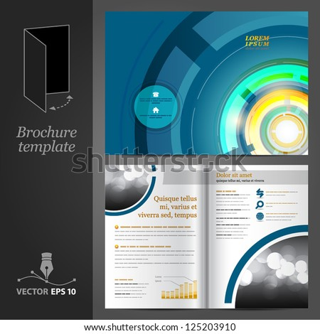 Vector blue brochure template design with round elements. EPS 10