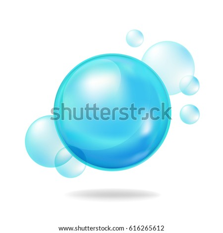 Stock Photo Vector blue bubbles on white background