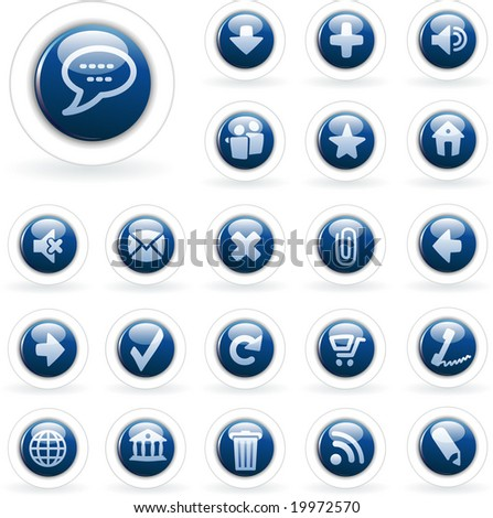 vector blue buttons for web and computing