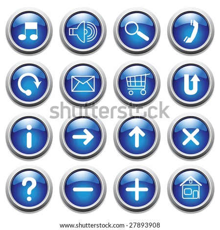 Vector blue buttons with symbols.
