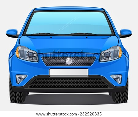 vector blue car   front view