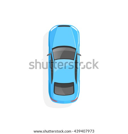 vector blue car top view