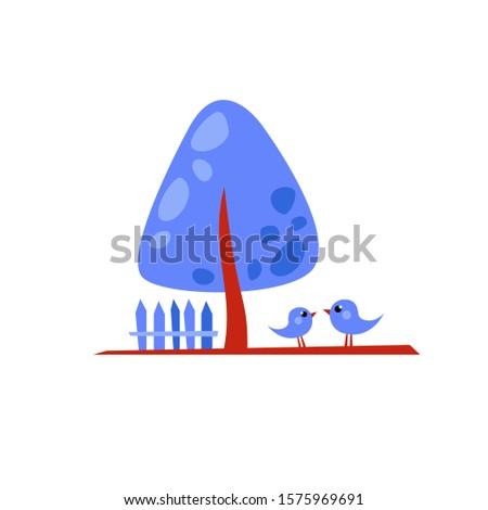 vector blue cartoon tree with