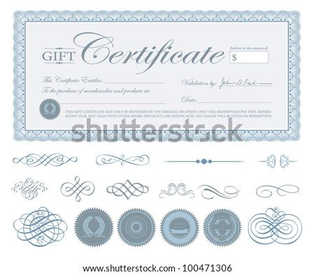 Vector Blue Certificate Border and Ornaments. Easy to edit.