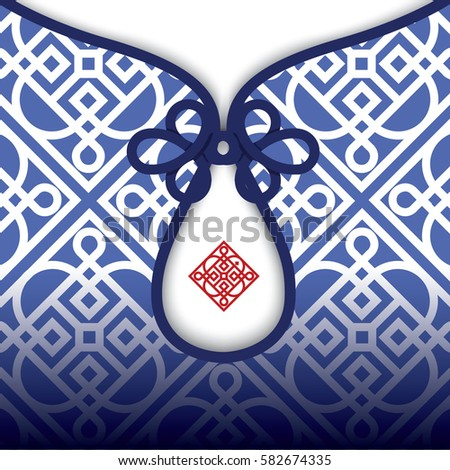 Vector Blue Chinese pattern in Chinese Traditional Clothes with  Knot Button.