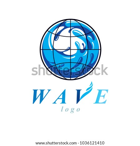 Vector blue clear water drop logo for use as marketing design symbol. Human and nature coexistence concept.