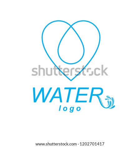 Vector blue clear water drop symbol for use in mineral water advertising. Living in harmony with nature concept.