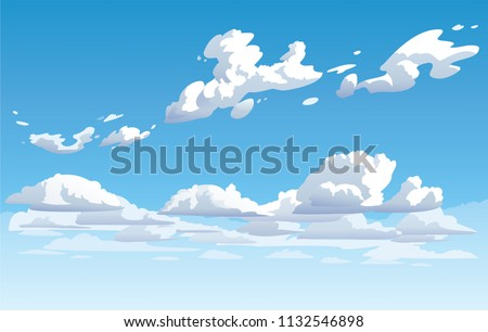 Vector blue cloudy sky. Anime clean style. Background design