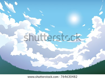 vector blue cloudy sky with