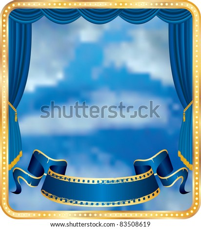 vector blue curtain stage with cloudy sky