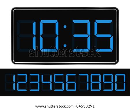 Vector Blue Digital Clock