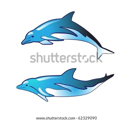 vector blue dolphin silhouettes