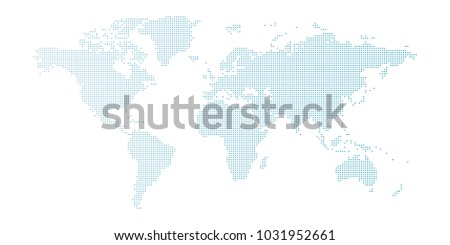 vector blue dotted world map