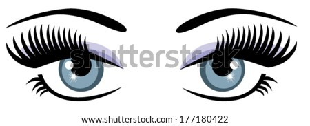 vector blue eyes with long
