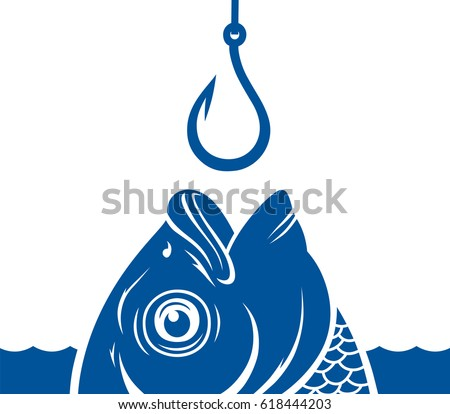 Vector blue fish head and fishing hook on the water background.