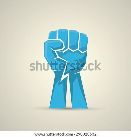 vector blue fist icon. revolution fist. freedom concept.