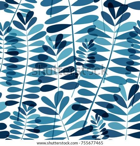 Vector blue floral pattern