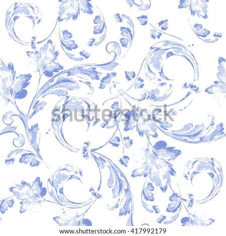vector blue floral watercolor