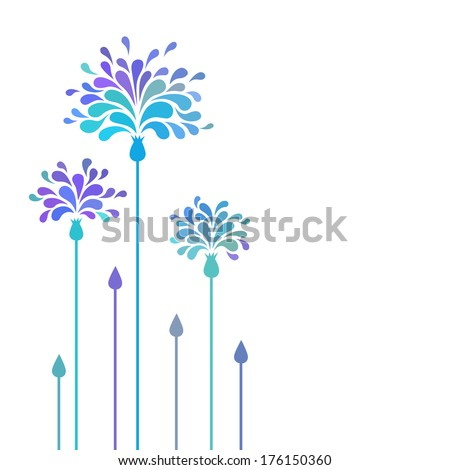 vector blue flowers with petals