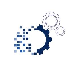 vector blue gears, digital transformation concept.