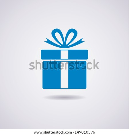 vector blue gift box icon, christmas present wrapped with a bow